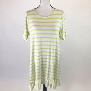 Agnes Dora  Striped  Ruffle Hem Dress L